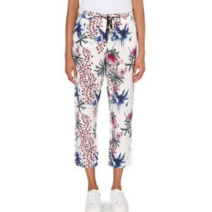 Maje Paolo Floral Linen Silk Cropped Pants